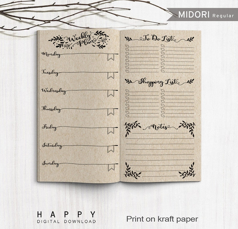 picture relating to Midori Traveler's Notebook Printable Inserts called Printable Inserts Weekly Planner, Midori Weekly Spreadsheet, Printable Midori Tourists Laptop weekly planner inserts, PDF record