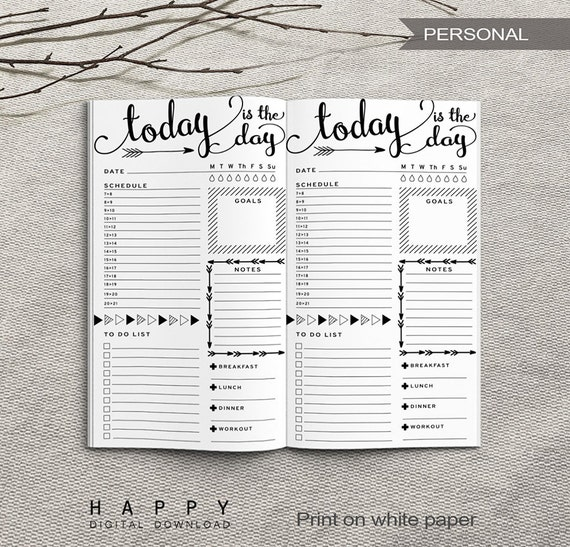 printable daily planner inserts personal daily planner etsy