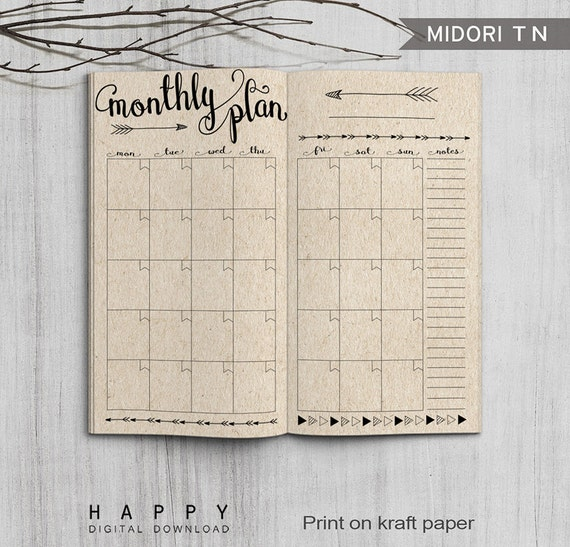 graphic regarding Midori Traveler's Notebook Printable Inserts identified as Printable Every month Planner Inserts, Midori Regular Spreadsheet, Printable Midori Vacationers Laptop computer month-to-month planner inserts, PDF record