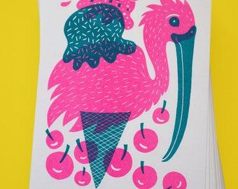 "Ice Cream Ibis Bird, Risograph Print (5"" x 7"")"