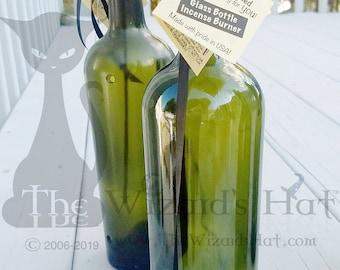 Simple Green Smoking Bottle Incense Burner, Glass Art, High Shoulder, Incense, Unique Gift, Wine Gift, Incense holder, House Warming Gift