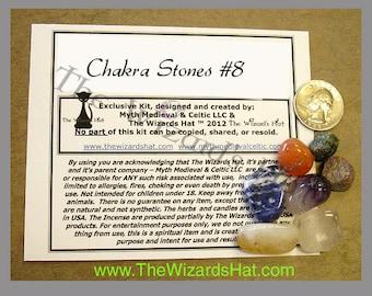Chakra CRYSTAL STONE Kit 8- 8 stones -  Ruby (Raw), Carnelian, Citrine, Emerald (Raw), Sodalite, Clear Quarts, & Amethyst Stones.