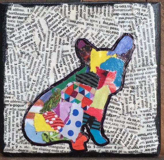 Bulldog francés mixta mascotas silueta rasgado collage | Etsy