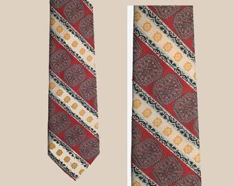 Vintage Wide Tie, 70's, Polyester, Red Diagonal Stripes, Mod, Disco, Bonds
