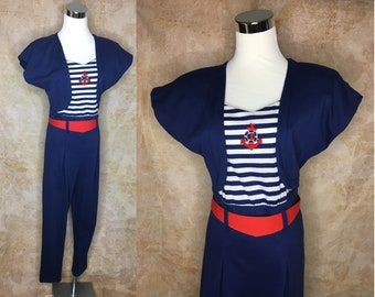 1970s navy and white star adorned VINTAGE LOVE BOAT naval Sailor jumper romper Small