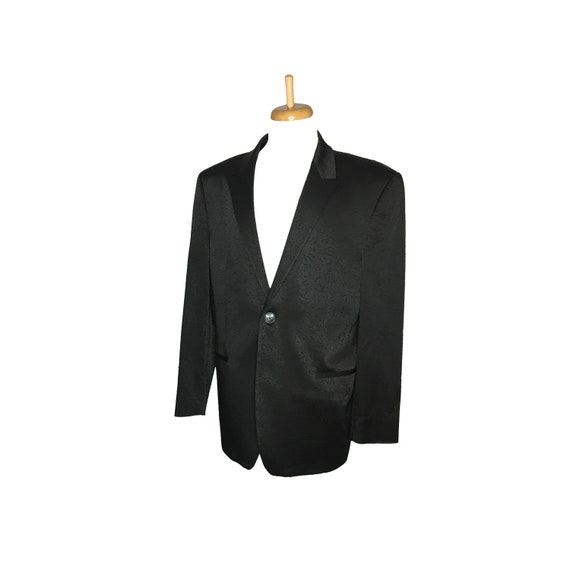watch great discount casual shoes Vintage Men's Tuxedo Jacket, Dinner Jacket, Formal Jacket, Black, Brocade,  Satin Accents, 1980's, Small/Medium
