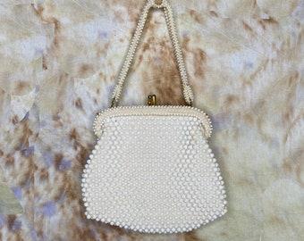 Vintage Beaded Bag, White, Evening Bag, Hand Bag, Handbag, Formal Bag, Kiss Clasp, 1960's, Security Quality Plus