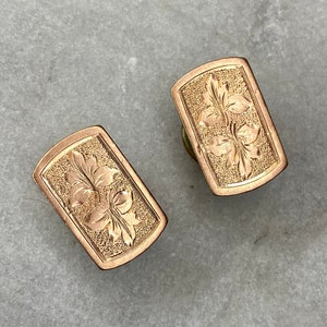 Antique Cufflinks Dapper Gift for Him Victorian Old Mine Cut Diamond Repousse Cuff Links in 14k Yellow Gold Gift for Dad