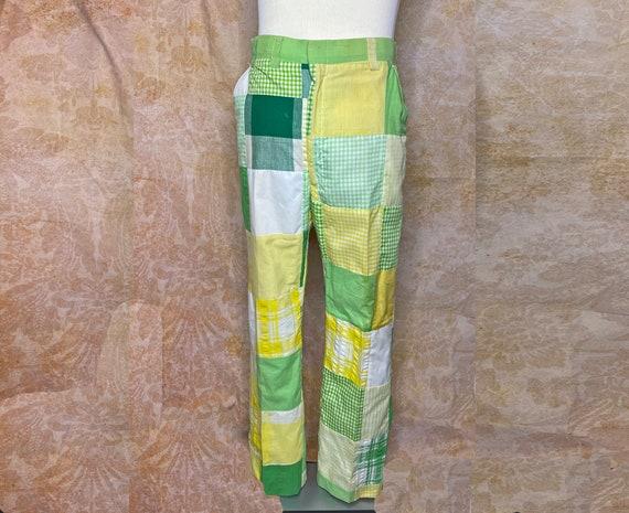 Vintage Men's Pants, 1970's, Patchwork, Cotton Ble