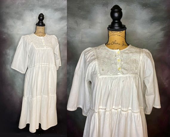 Vintage Dress, Peasant Dress, Prairie Dress, White