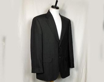 Vintage Men's Jacket, Sportcoat, Blazer, Navy Pinstripe, Towncraft, Penny's, 1980s, Medium