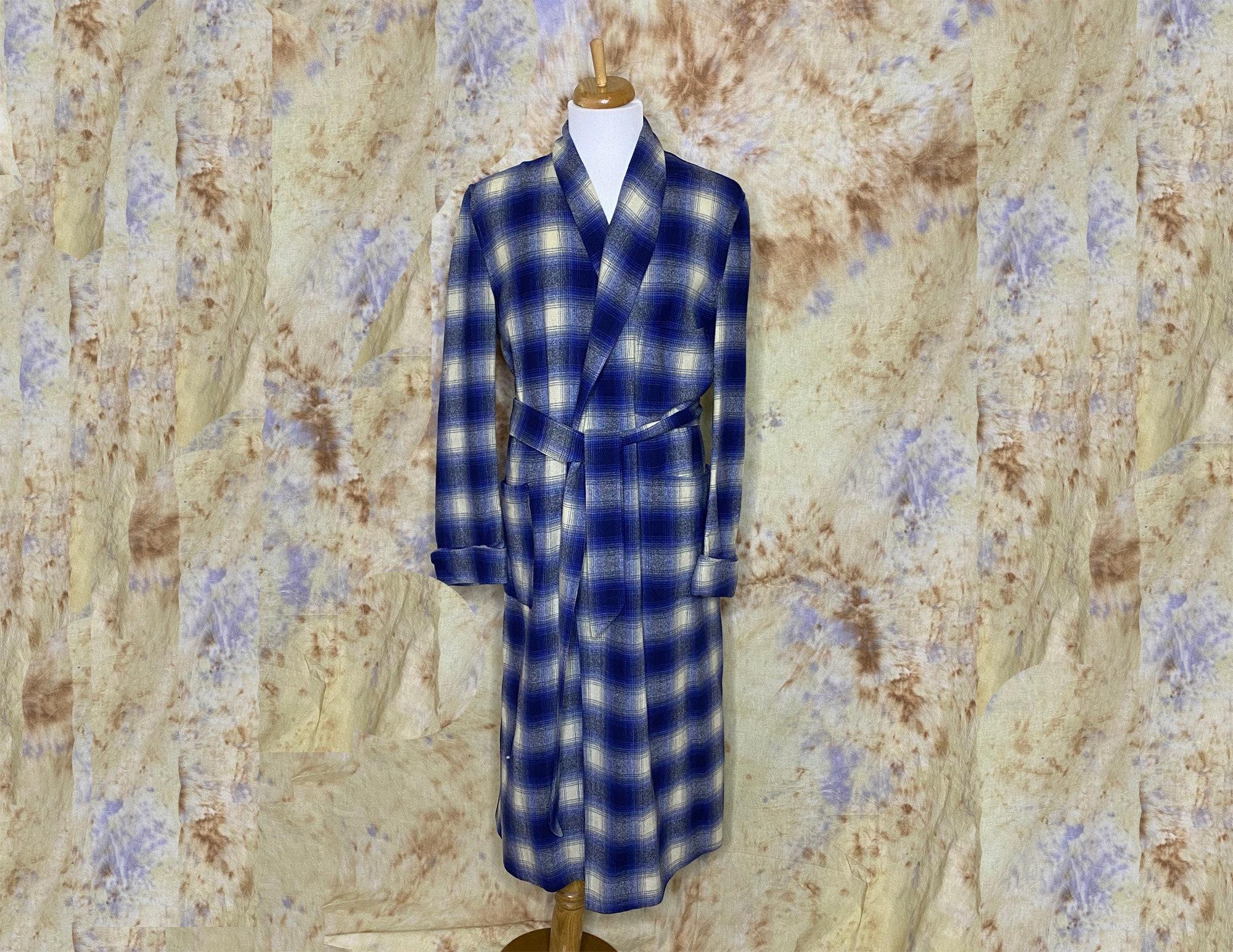 1950s Men's Ties, Bow Ties – Vintage, Skinny, Knit Vintage Unisex Robe, Blue Plaid, Wool Blend, 1950S, Royal Robes, Sash Belt, Mens SmallWomens Medium $40.00 AT vintagedancer.com