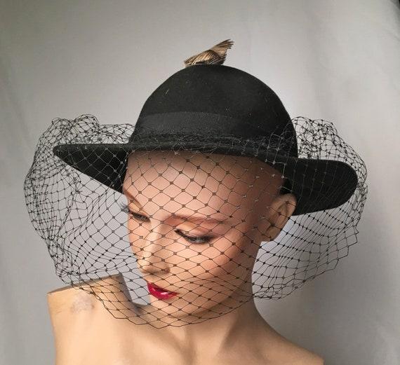Vintage Women s Hat 1950 s Black Felt Netting Veil  3c7d05e567d