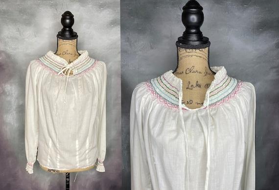 Vintage Peasant Top, Blouse, Hippie, Boho, White C