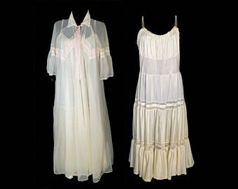 Vintage Peignoir Set, 1950's, White, Nylon, Long, Pink Ribbon, Lace, Peter Pan Collar, Spaghetti Strap Gown, Miss Siren, Medium