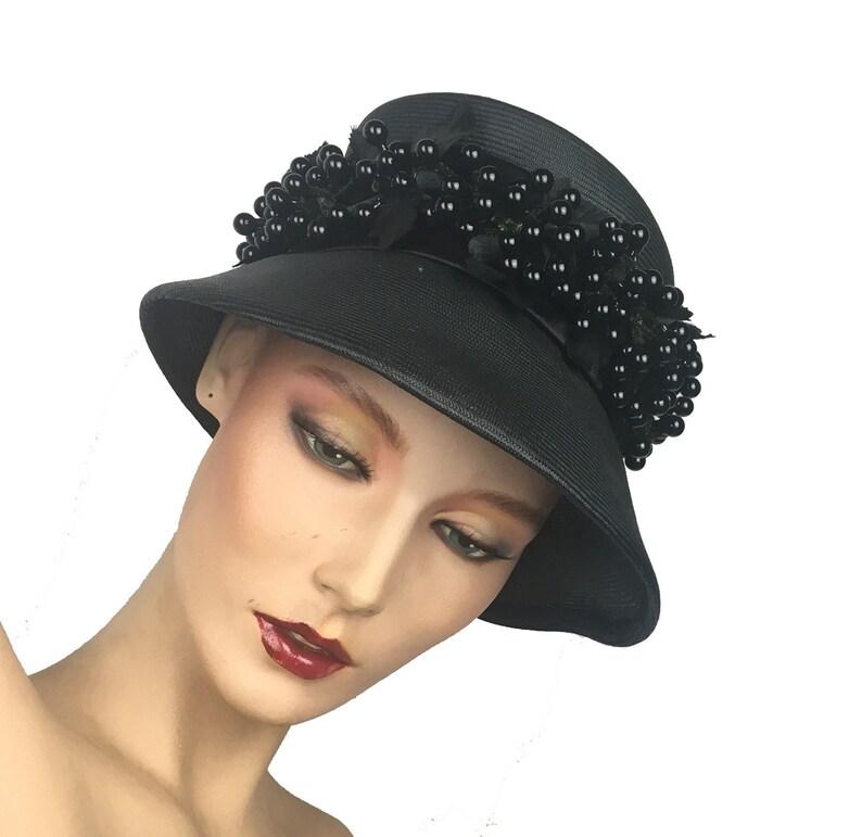Vintage Women s Hat 1960 s Straw Bucket Hat Black  7b07da5e907