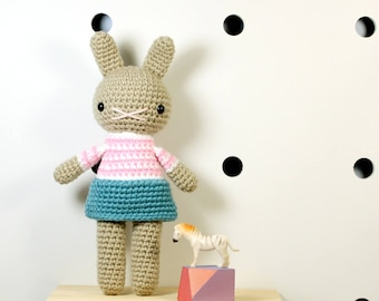 mia .. stuffed plushie rabbit doll, bunny girl toy, crochet amigurumi animal