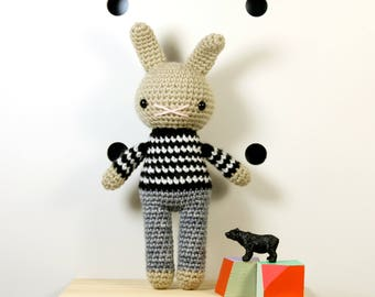 skip .. amigurumi rabbit toy, easter bunny rabbit, boys plush plushie stuffed animal
