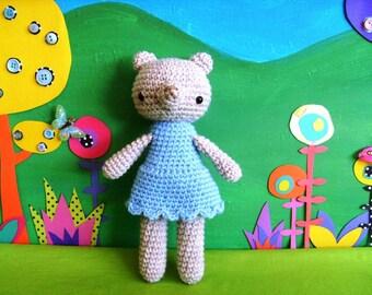 little amber...........amigurumi teddy girl doll- blue dolly dress, pale brown teddy bear girl,  plush doll crocheted