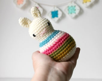roly poly rabbit spring .. baby bunny easter rabbit toy rattle bunny amigurumi crochet