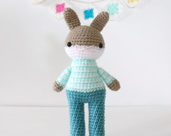 mikael .. toy rabbit, plush handmade stuffed bunny, crochet amigurumi doll, boy toy, cute nursery christening gift