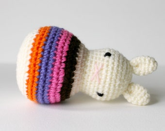 roly poly rabbit sunset .. baby easter rattle, toddler rattle, rabbit toy bunny amigurumi crochet