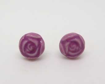 Ceramic Rose Earrings with Titanium Posts - Rainbow of Colors Available