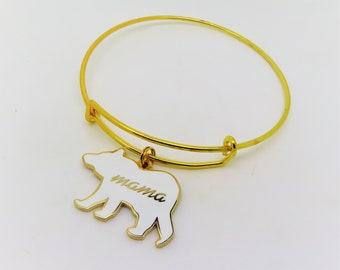 Mama Bear Enamel Charm Bracelet in Gold