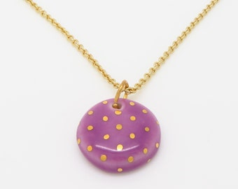 Large Circle Gold Polka Dot Necklace - Rainbow of Colors Available