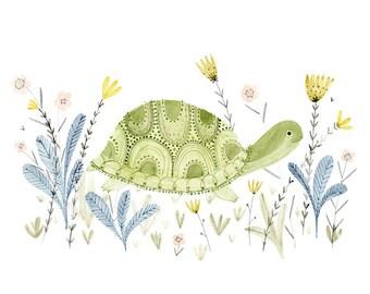 Turtle in a meadow - archival art print