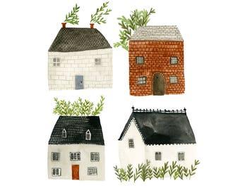 Four Houses - art print - archival - three sizes