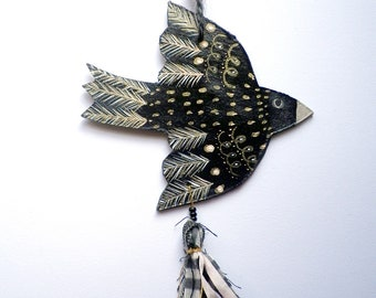 Flying Bird Ornament - Hand painted -