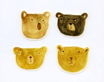 Bemused Bears - set of 4 stickers