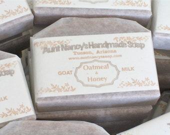 Goat Milk Oatmeal & Honey Soap Gentle Mild Handmade Soap Unscented Other Than Natural Desert Honey and Oatmeal