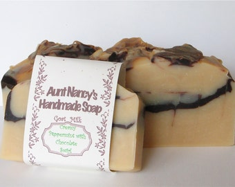 Creamy Peppermint with Chocolate Swirl Handmade Goat Milk Soap - Scented with Peppermint Essential Oil - Cocoa Powder Used for Swirls
