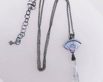 Evil Eye Necklace with Black Rutile Tourmaline Quartz