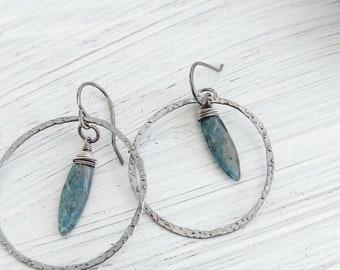 Moss kyanite marquis earrings with hammered hoop, sterling silver earrings