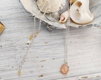 Rose cut Peach Moonstone Pink Rose Cut Stone Mixed Metal Necklace