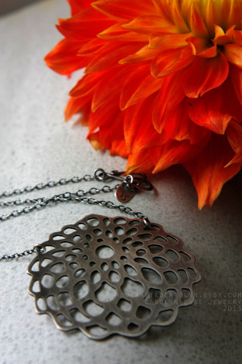 Dahlia Sterling Silver Hand Cut Stylized Pendant  Sterling image 0