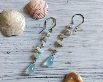 Mermaid Tears - Ethiopian Opal and Aqua Chalcedony Long Dangle Earrings