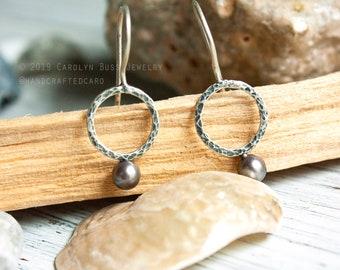 Pearl earrings, modern pearl earrings, contemporary pearl earrings, pearls, sterling silver hoop, black pearls