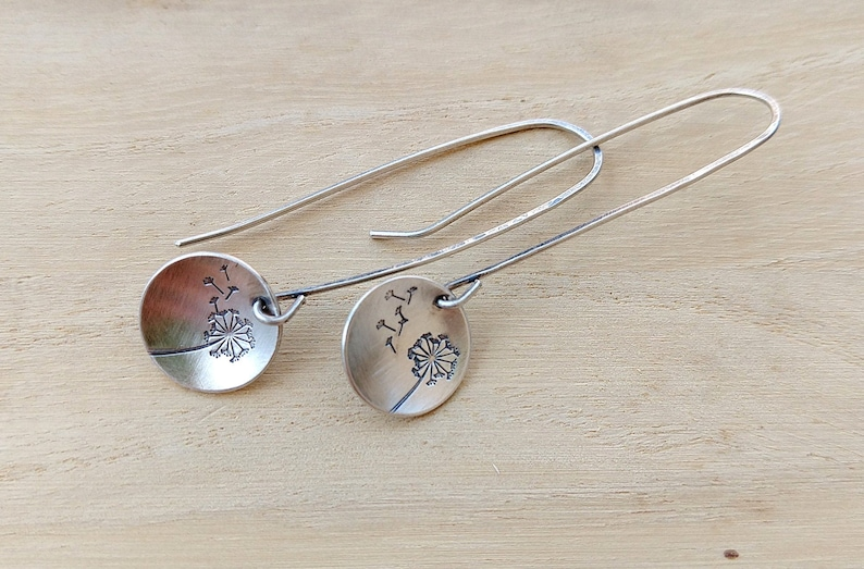Wishes Dandelion and Fluff Sterling Silver Hand Stamped image 0