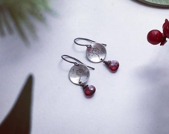 N E W Wishes with Garnet Drop - Sterling Silver Disc Earrings - Minimal jewelry
