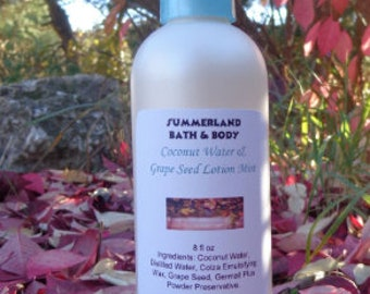8 fl oz Coconut Water Grape Seed Lotion Mist, Lush Scents, Woman's Scents, Food Scents, Fruit Scents
