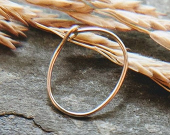 oval slim profile close fit thin nose ring, solid 14k gold, yellow, white or rose, 26g nose hoop-- handmade by thebeadedlily