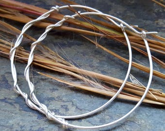 choose your metal hoop earrings, sterling silver hoops, sterling silver hoop earrings, simple gold hoops-- handmade by thebeadedlily