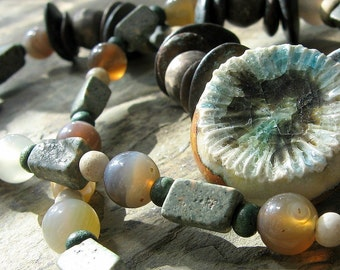 serpentine and agate, serpentine necklace, green brown necklace, brown green necklace, woodland necklace-- handmade by thebeadedlily