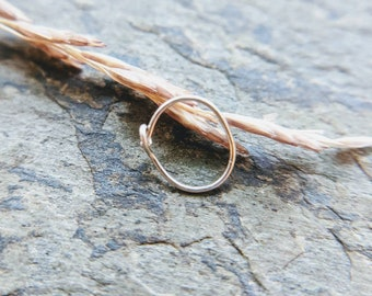 26g nose ring, oval slim profile close fit thin nose ring, sterling silver or niobium single-- handmade by thebeadedlily