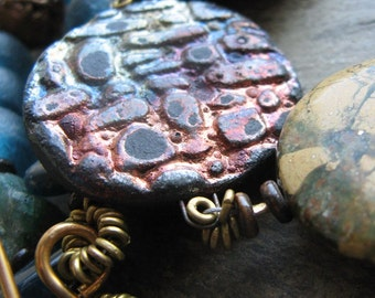 saur-- raku, trade bead and verdite disk necklace-- handmade by thebeadedlily
