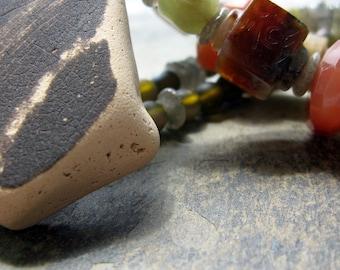 labradorite necklace, alphonse mucha, bohemian necklace, green brown peach,  olive apricot gray, sea pottery necklace, grey green orange